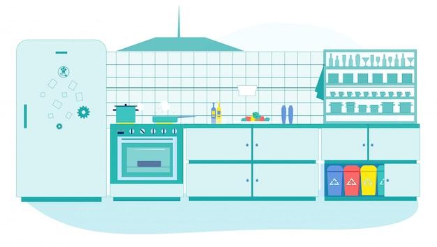 Kitchen interior with litter bins different trash
