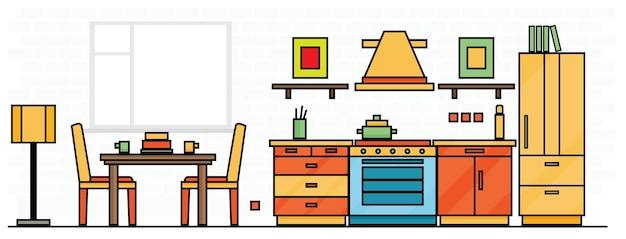 テーブル、ストーブ、冷蔵庫付きのキッチンインテリア。ベクトルイラスト。
