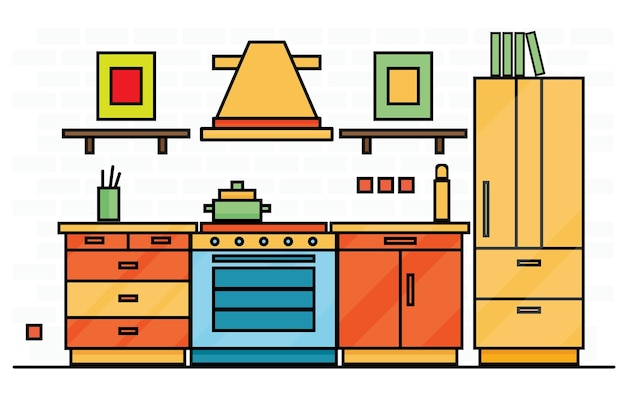 Kitchen interior with table, stove and fridge. vector illustration.