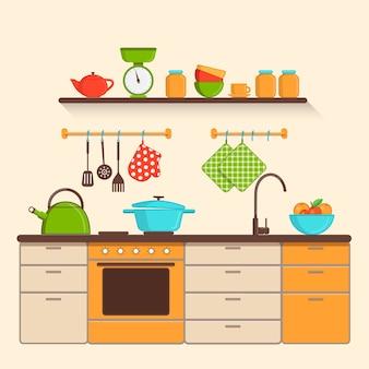 Интерьер кухни с посудой иллюстрации