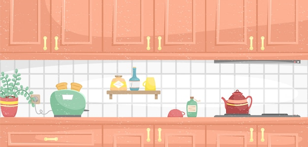 Kitchen interior with wooden cabinets. flower pot, oven, dish and toaster on the countertop. flat  illustration.