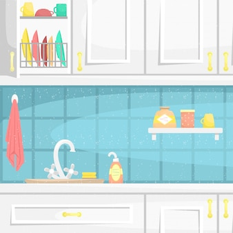 Kitchen interior with wooden cabinets. sink on the countertop and dish. flat illustration.