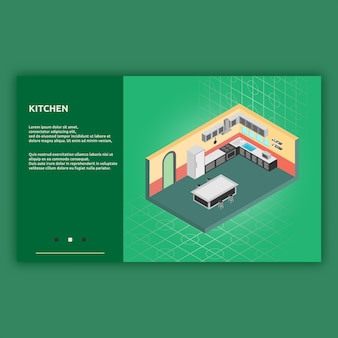 Kitchen isometric interior illustration