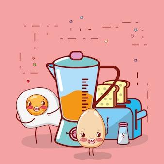 Kitchen items cartoon kawaii cartoon