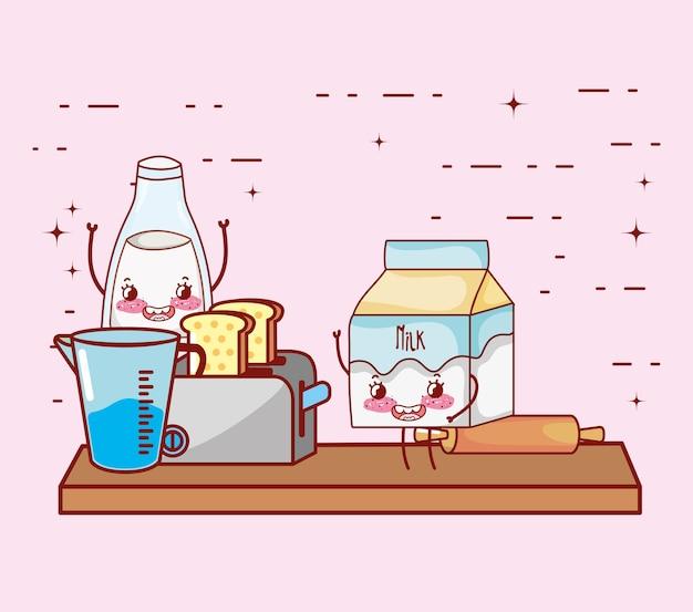 Кухонные принадлежности мультфильм каваи