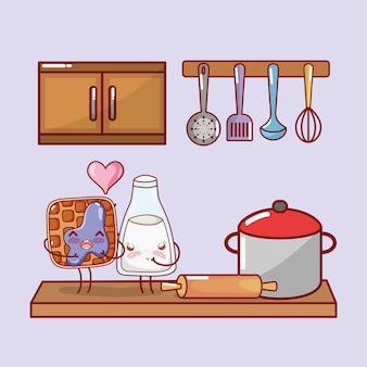 주방 항목 만화 귀엽다 만화