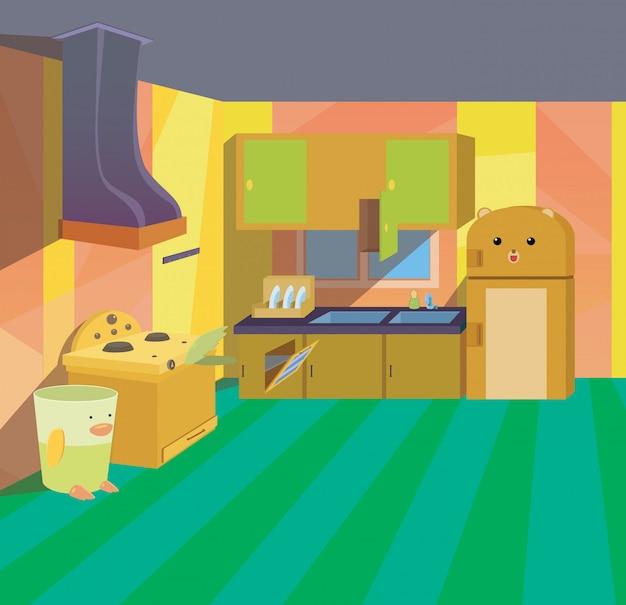 Kitchen kids  interior cartoon children style background