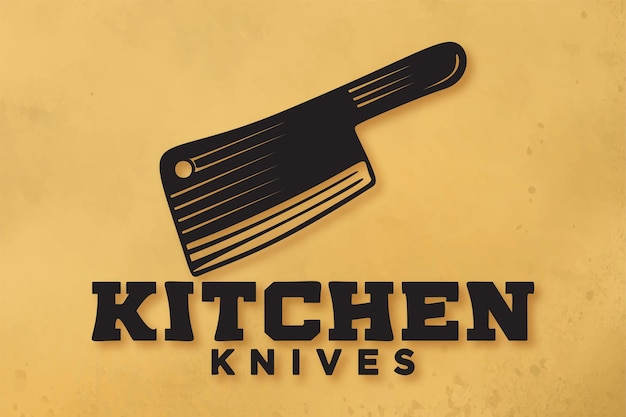 Kitchen knifes meat logo designs