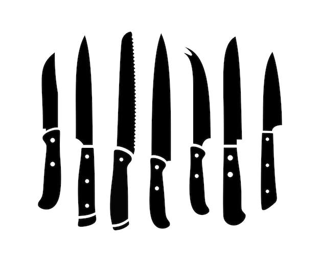 부엌 칼 검은 실루엣. 흰 벽에 고립 된 날카로운 요리 칼 세트, 작업 및 요리사를위한 스테인레스 스틸 레스토랑 나이프, 쇠고기 액세서리 준비
