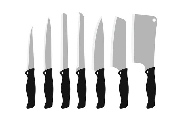 Kitchen knives vector icon set. butcher knife set for butcher shop. knife illustration vector in flat style