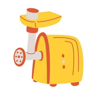 キッチンミートグラインダーアイコン。メーカーコンセプト、家庭用機器、家庭用厨房機器チョッパー。キッチン家電コレクションのシンプルな要素。漫画フラットベクトルイラスト背景。