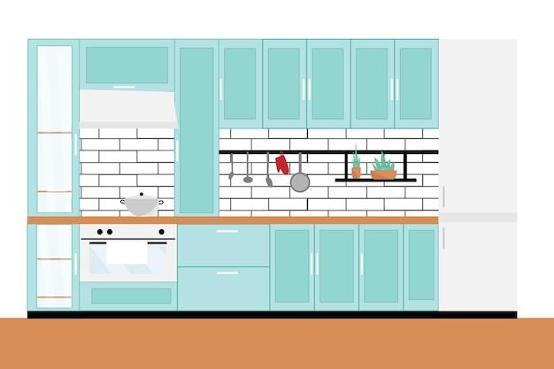 Кухня в современном интерьере, дизайн квартиры. иллюстрация в плоском стиле.