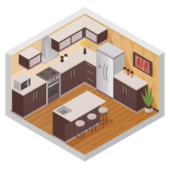 Kitchen modern interior design composition in isometric style with household equipment appliances an