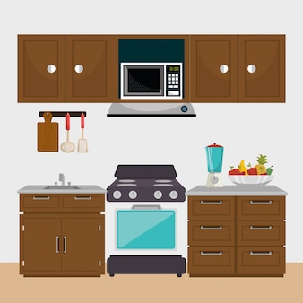 Элементы кухни современной сцены