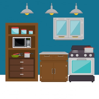 Kitchen modern scene icons