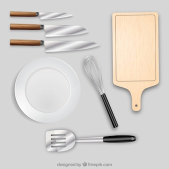 Kitchen objects in realistic style