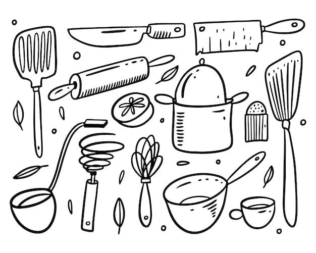 Кухонные объекты набор иконок. рука рисовать каракули стиль. изолированный.
