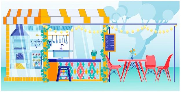 Кухня уличного кафе с открытой террасой