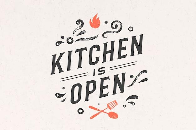 キッチンオープン。壁の装飾、ポスター、サイン、見積もり。キッチンのポスター