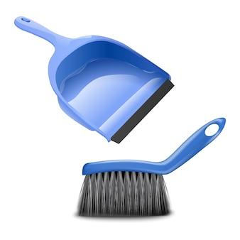 ほこりやゴミを掃除するためのキッチンまたはバスルームのブラシとちりとり。白で隔離