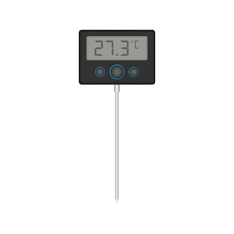 Кухонный или лабораторный термометр. температура еды. векторная иллюстрация штока