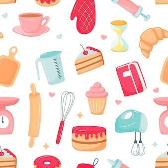 キッチンパターン、デザートの準備、台所用品。漫画スタイルのベクトル図