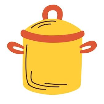 キッチンポット。料理、シェフ。台所用品、食品調理器具。白い背景で隔離の漫画フラットスタイルのベクトルイラスト。