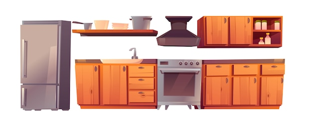 주방 식당 가전 제품 및 가구 세트.