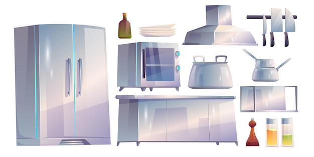Kitchen restaurant appliances and furniture set.