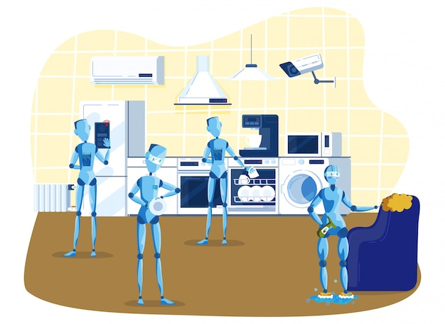 Kitchen robots for home robots cooking, cleaning, multitasking engineered for people assistance and convenience cartoon  illustration.