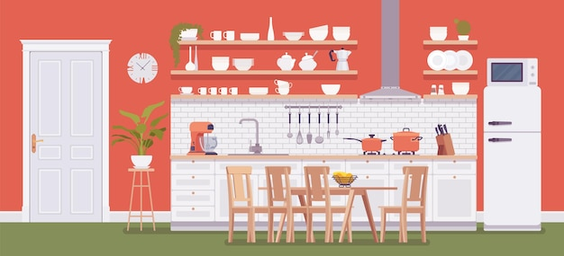 Кухня ярко-красный интерьер, домашняя зона с шкафом, вытяжкой, мойкой, варочной панелью и холодильником. функционирующая техника, украшение, вдохновение переделывать. векторные иллюстрации шаржа плоский стиль