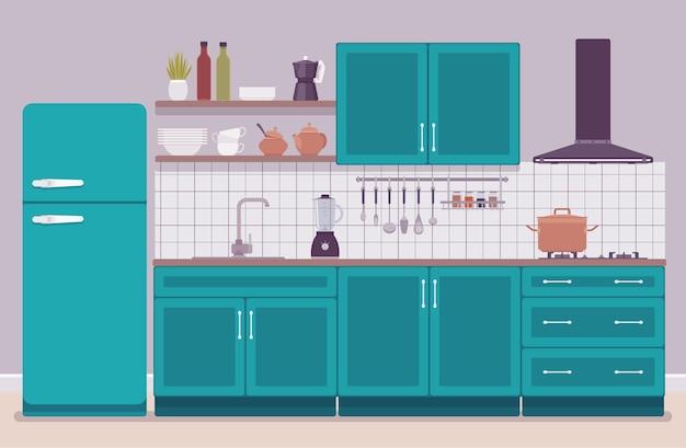 Kitchen room modern interior