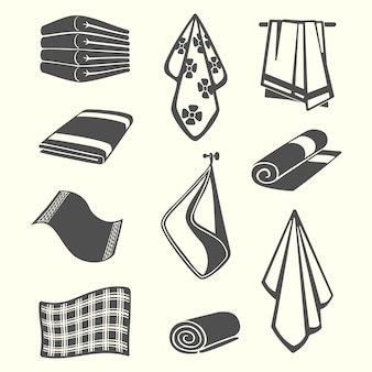 Kitchen and room service towels, napkins, textile illustration isolated