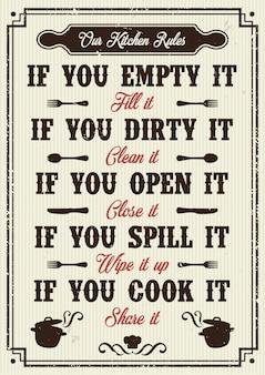 Постер правил кухни
