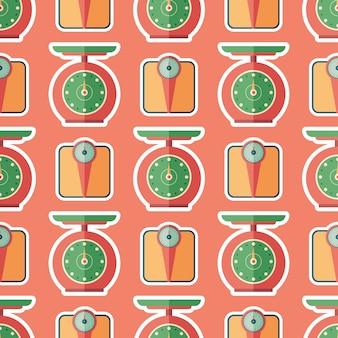 Kitchen scales flat art seamless pattern.