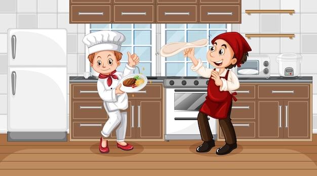 2人のシェフの漫画のキャラクターとキッチンシーン