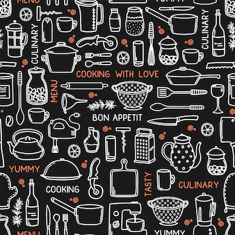 Kitchen seamless background in doodle style on black.
