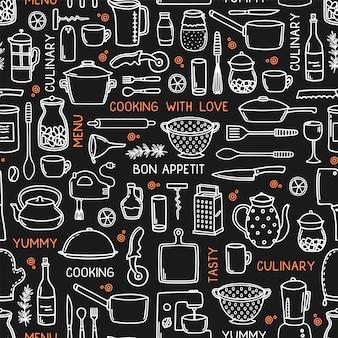 Кухня бесшовный фон в стиле каракули на черном.