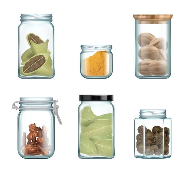 キッチン調味料。ベクトル天然物の現実的なセットを調理するためのガラス瓶と瓶のグルメハーブのスパイス。香辛料用天然ガラス容器、調理器具のパッケージイラスト