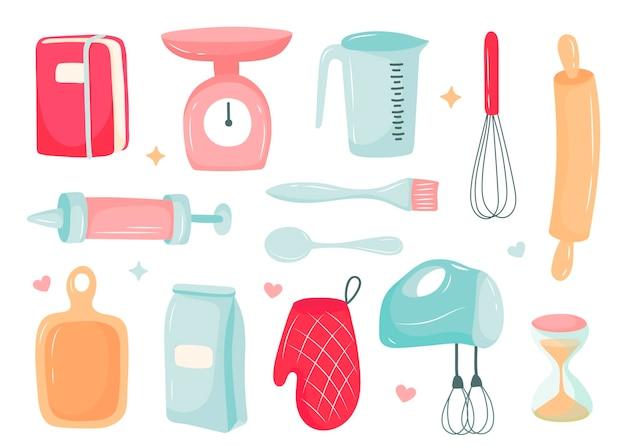 Кухонный гарнитур, приготовление десертов, кухонные принадлежности. векторные иллюстрации в мультяшном стиле