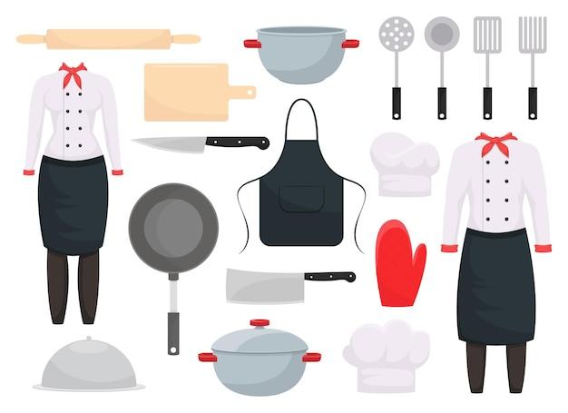 白い背景で隔離のキッチンセットのデザインイラスト