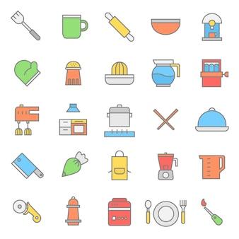 Kitchen set flat color icon