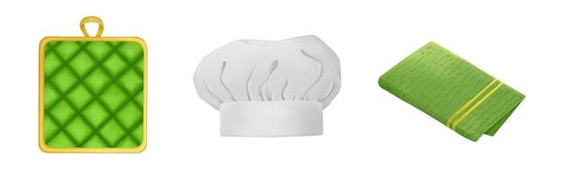 キッチンセットグリーンテリータオル鍋つかみシェフ帽子