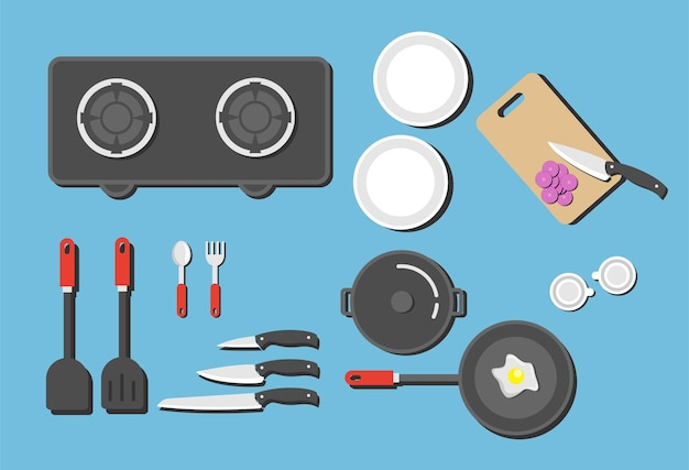 Kitchen set shelf with kitchenware and utensil, vector flat illustration.