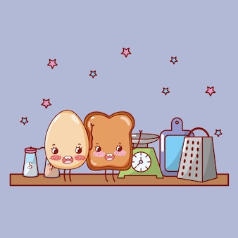 Kitchen shelf cartoon kawaii cartoon