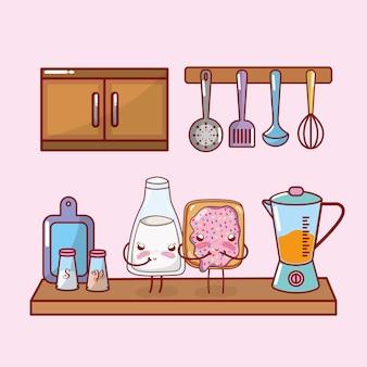 Kitchen shelf cartoon kawaii cartoon