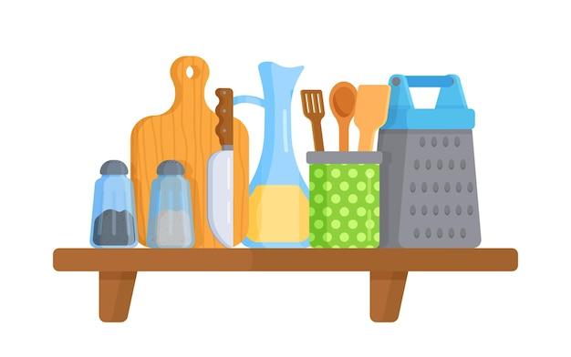 Kitchen shelf with utensils on white