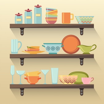 Kitchen shelves with colorful tableware
