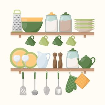 調理器具付きのキッチン棚。台所用品のセット、ベクトルイラスト
