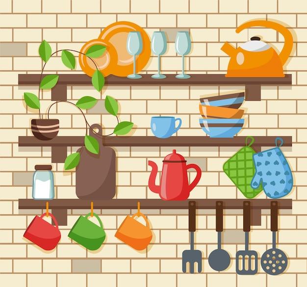 Кухонные полки с посудой в плоский. векторная иллюстрация